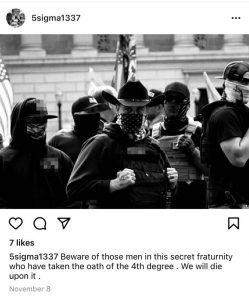 "An Example of the way Christopher Young obscures his membership in the Proud Boys on Instagram. Note: ""4th degree"" refers to the Proud Boys who have engaged in violence with ""enemies"""